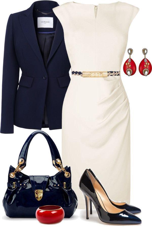 белое платье с синим пиджаком