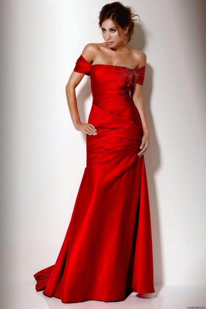 Вечернее красное платье русалка