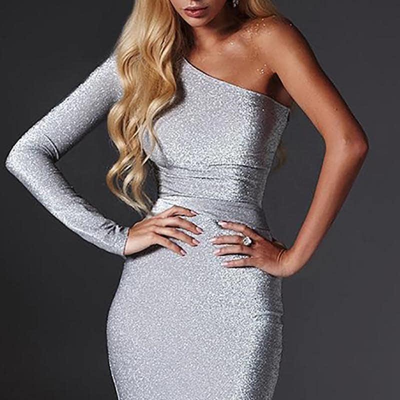 платье с люрексом с рукавом на одно плечо