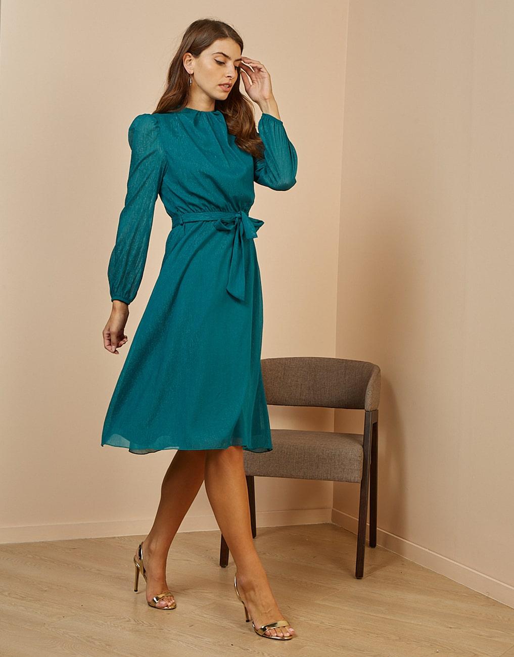 платье с люрексом с рукавами