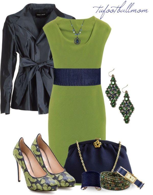 зеленое платье с синим пиджаком