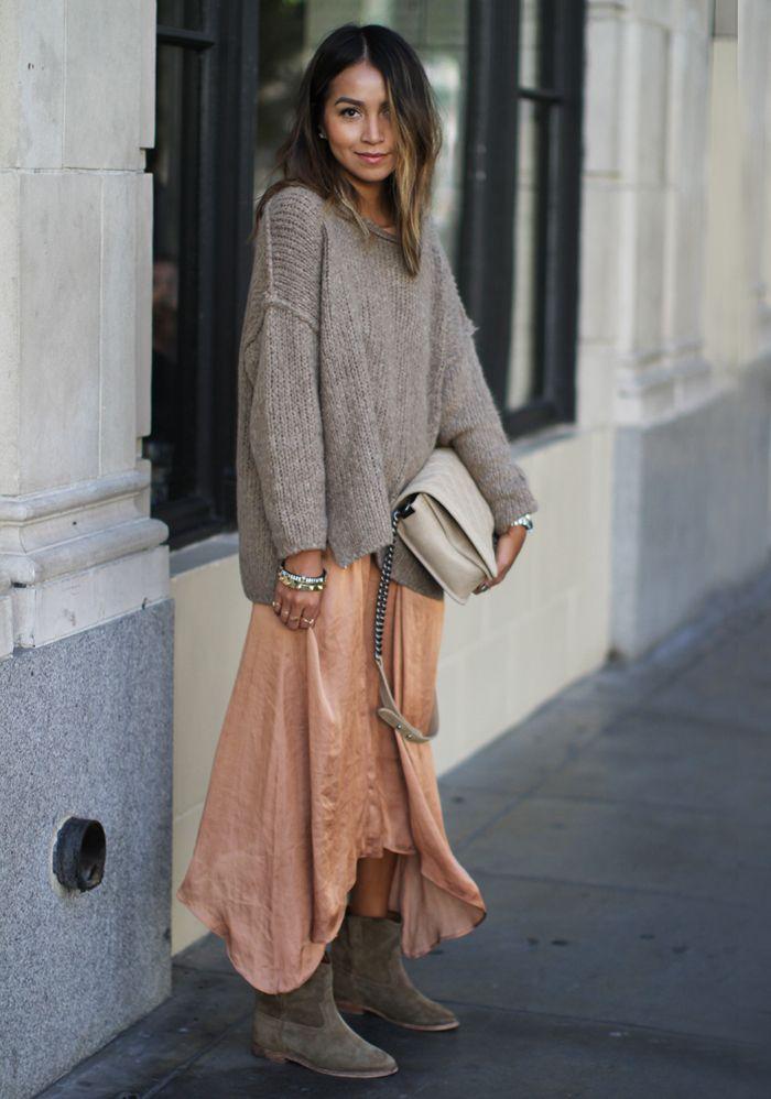 длинное платье со свитером