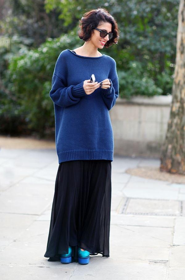 свитер оверсайз с платьем