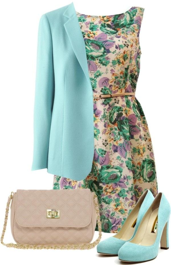 платье с бирюзовым пиджаком