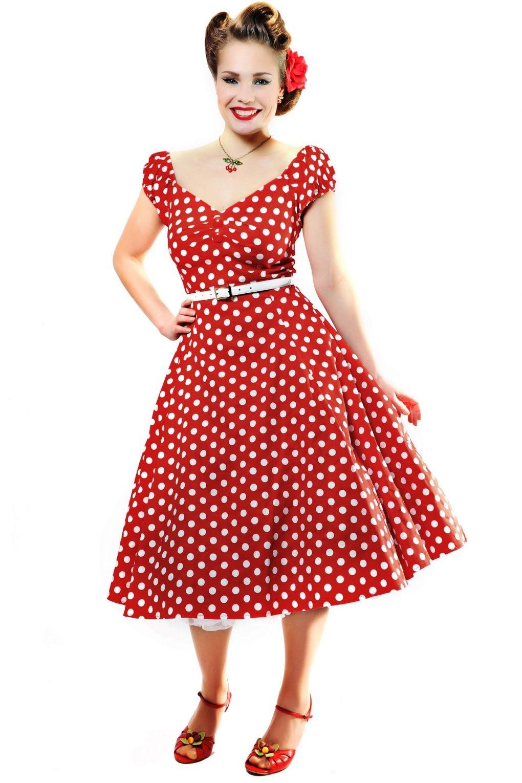 Ретро красное платье в горох