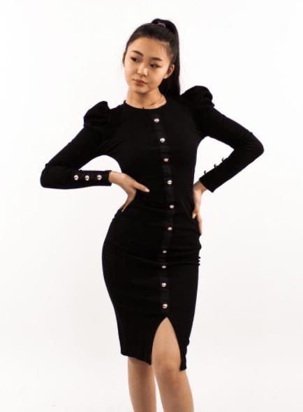 платье лапша с рукавом фонариком