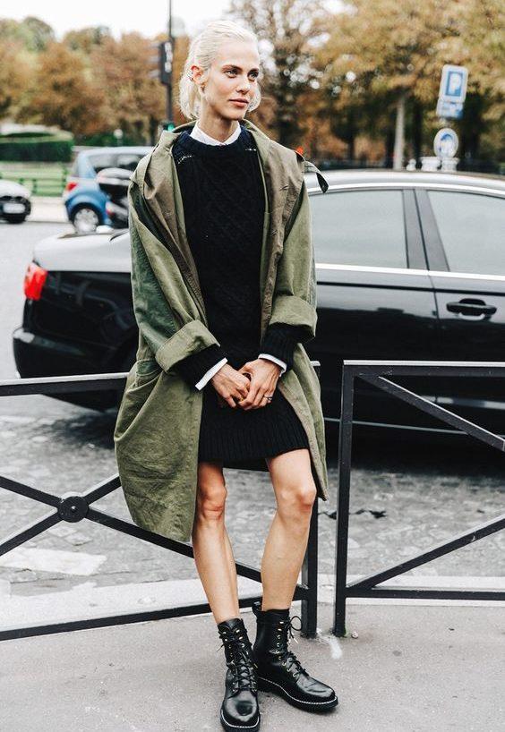 вязаное платье с ботинками