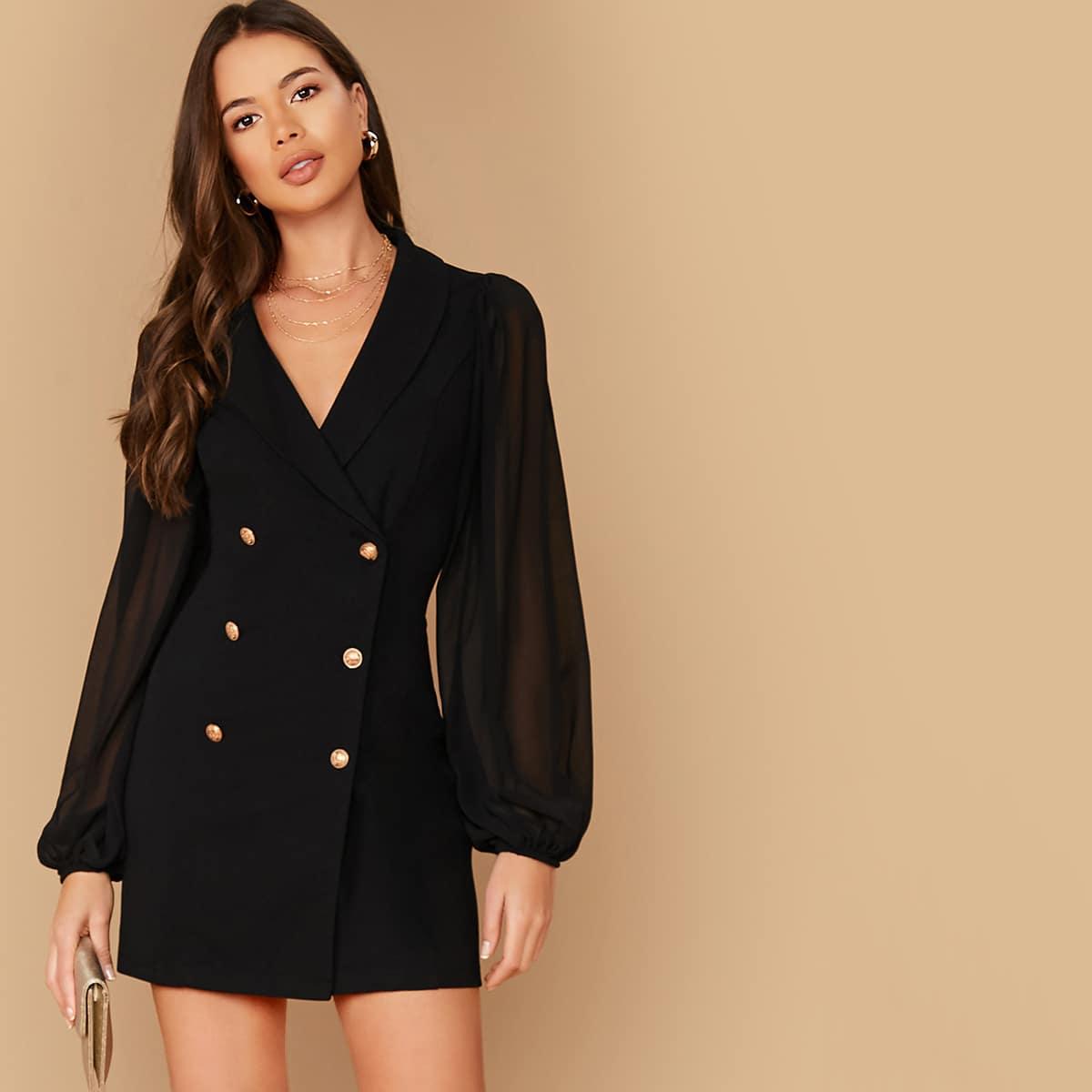 платье пиджак с рукавом фонариком