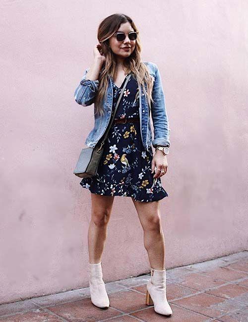 платье с курткой и ботинками