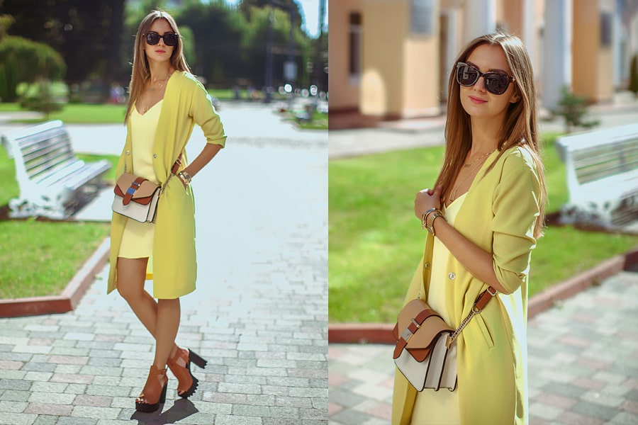 желтое платье в бельевом стиле