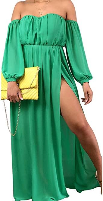 открытое платье с рукавом фонариком