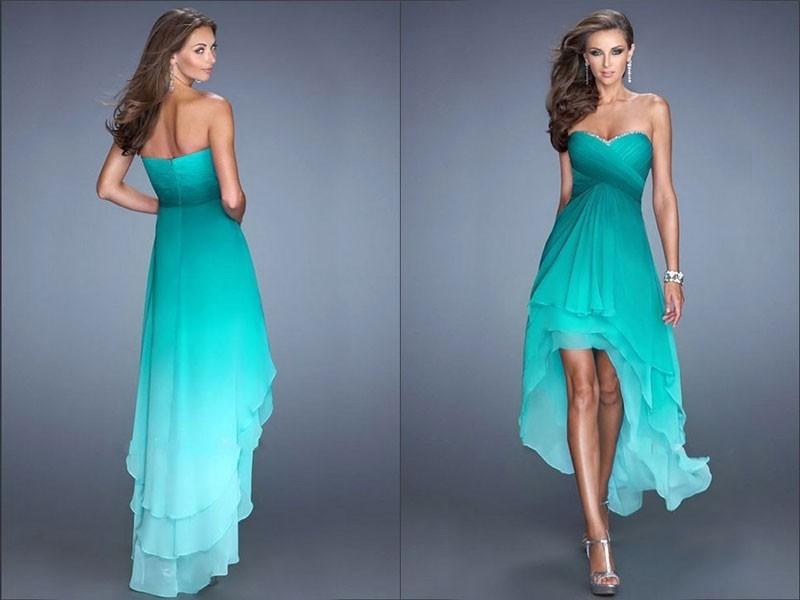 платье маллет с градиентным перепадом цвета