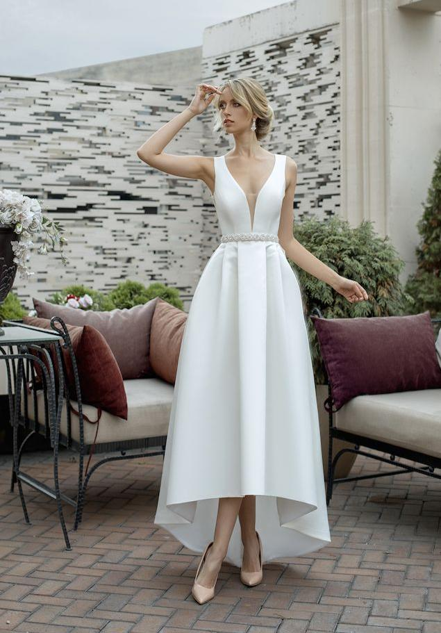 свадебное платье миди маллет
