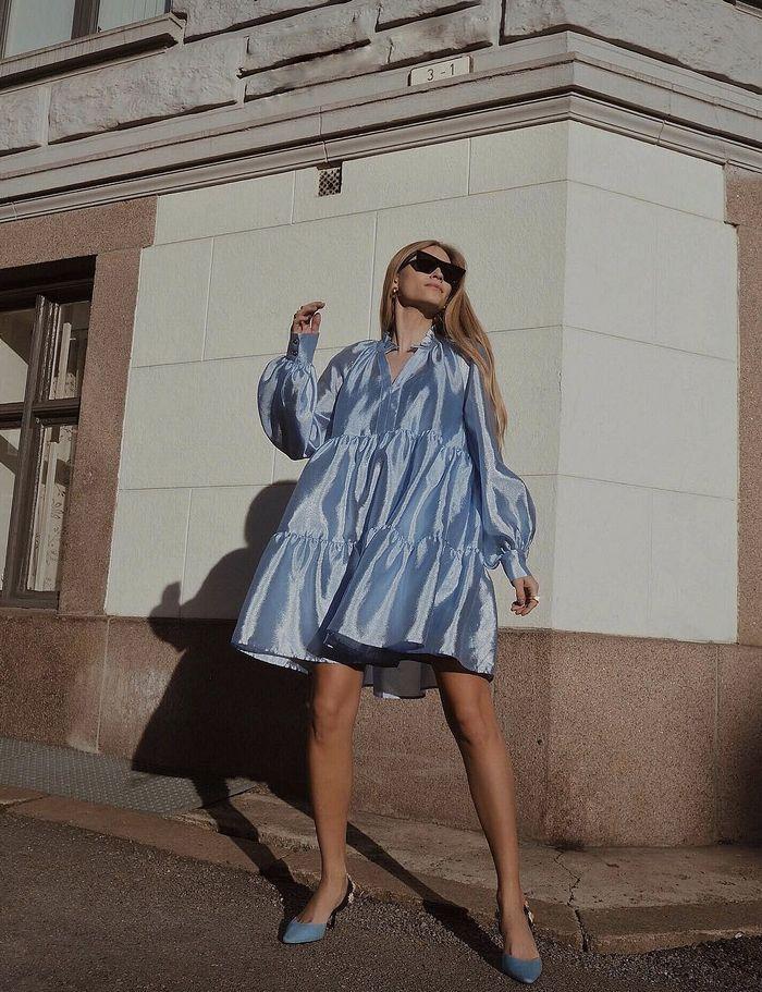 платье парашют с рукавом фонариком