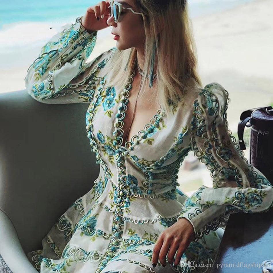 платье с запахом с рукавом фонариком