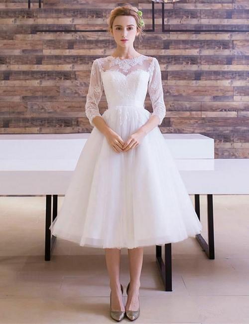 свадебное платье миди с кружевным верхом