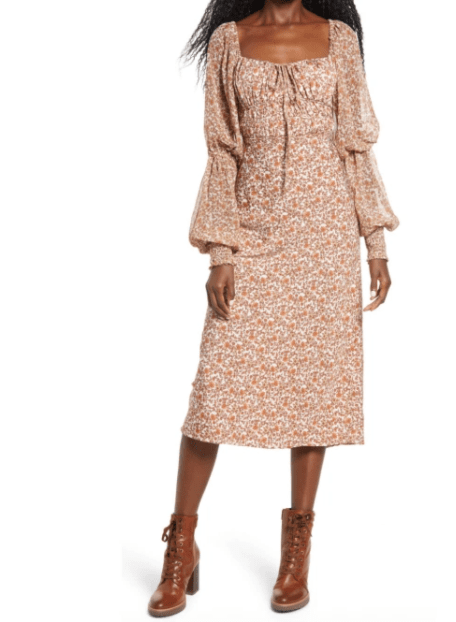 платье бохо с рукавом фонариком