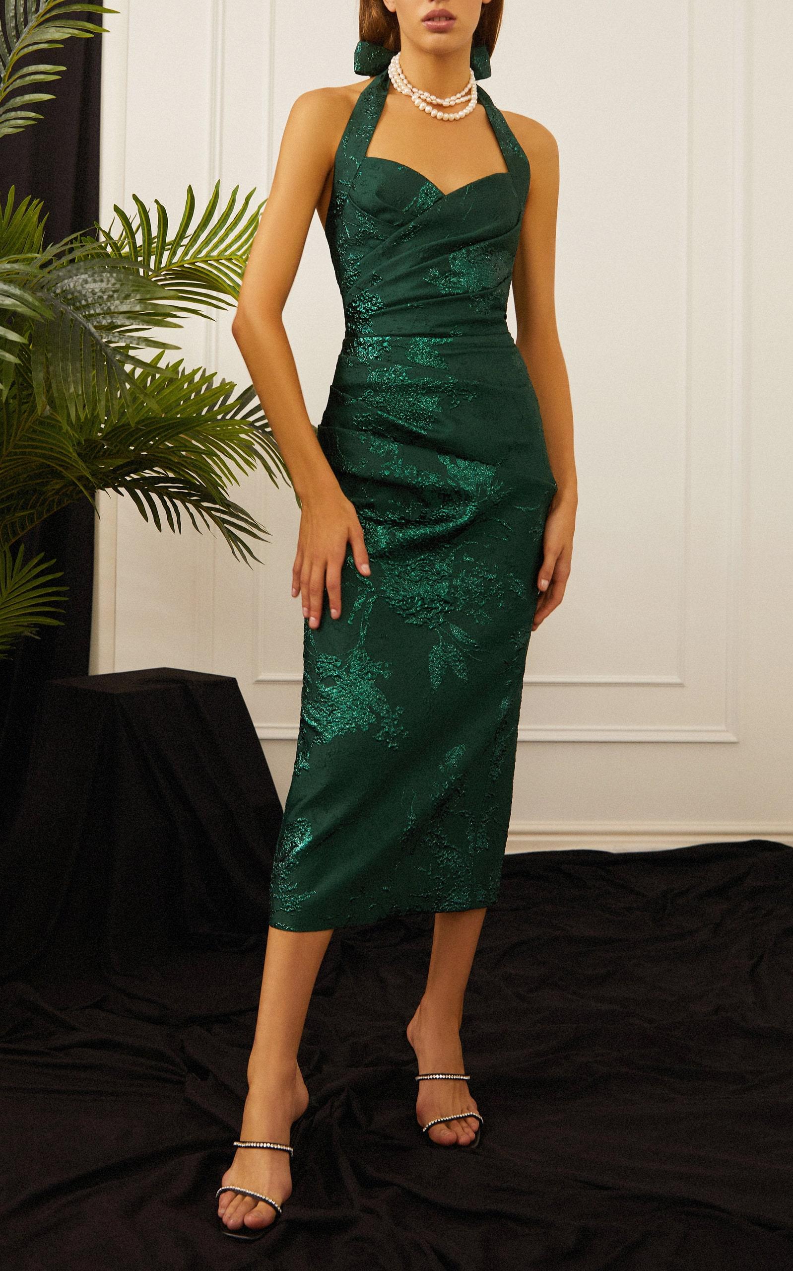 зеленое вечернее платье из жаккарда