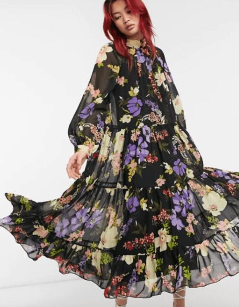 шифоновое платье с рукавом фонариком