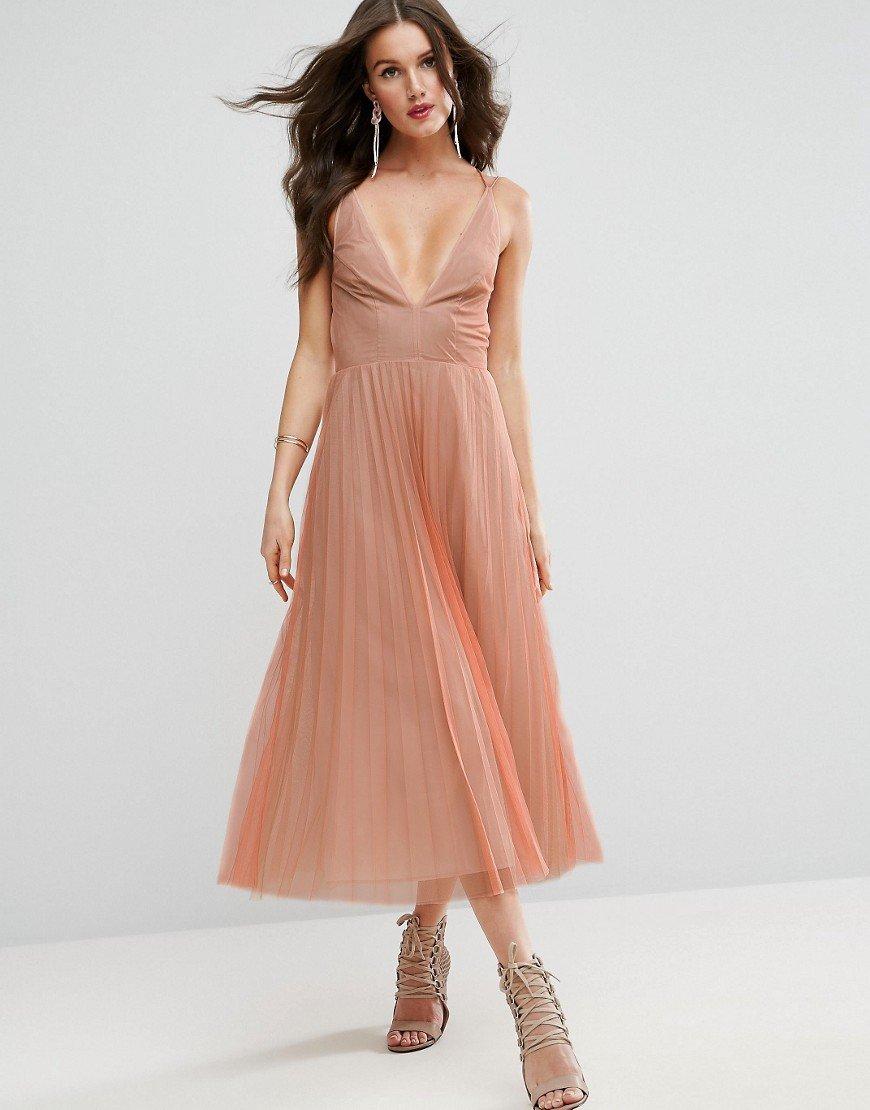нежное вечернее платье миди