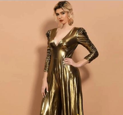 золотое платье с рукавом фонариком