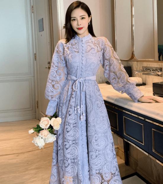 кружевное платье с рукавом фонариком