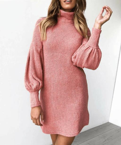 вязаное платье с рукавом фонариком