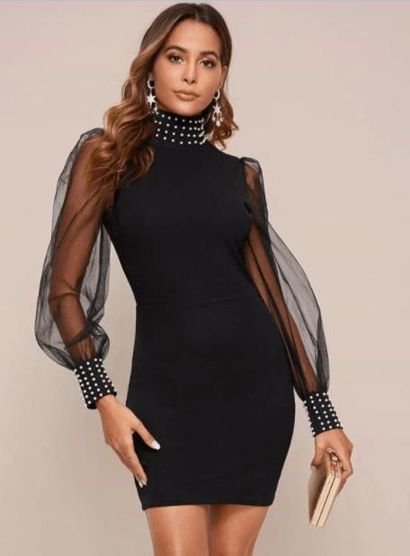 мини платье с рукавом фонариком