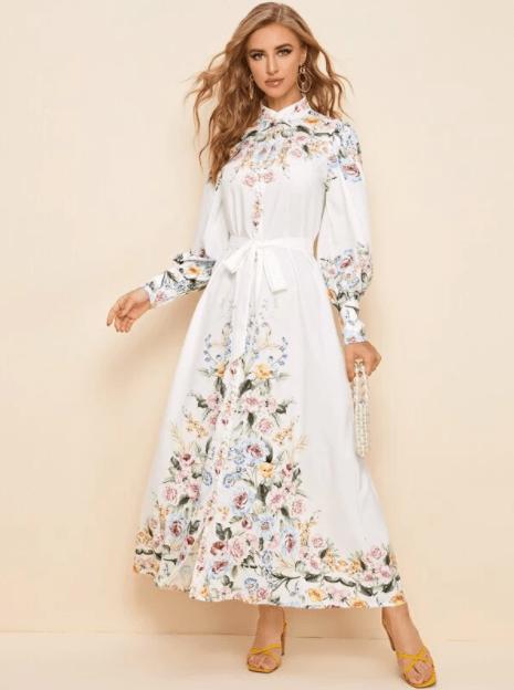 платье рубашка с рукавом фонариком