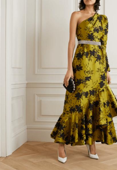желтое платье из жаккарда
