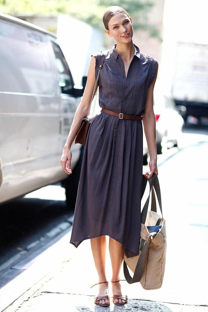 Идеи с чем надеть темно-синее платье
