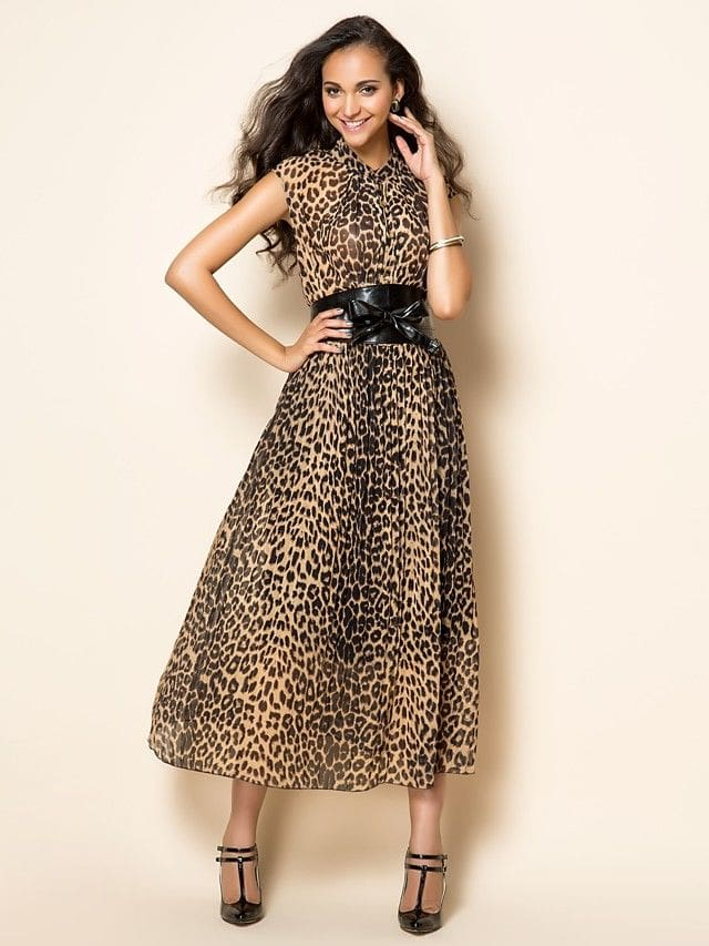 леопардовое платье с поясом