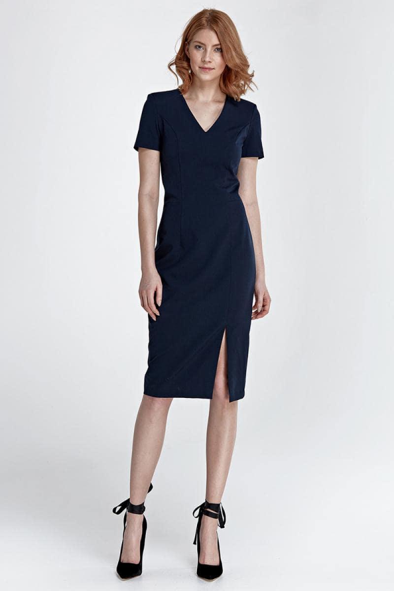 темно синее платье с разрезом