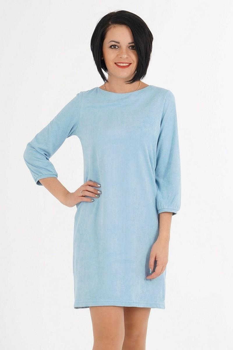 голубое платье шифт