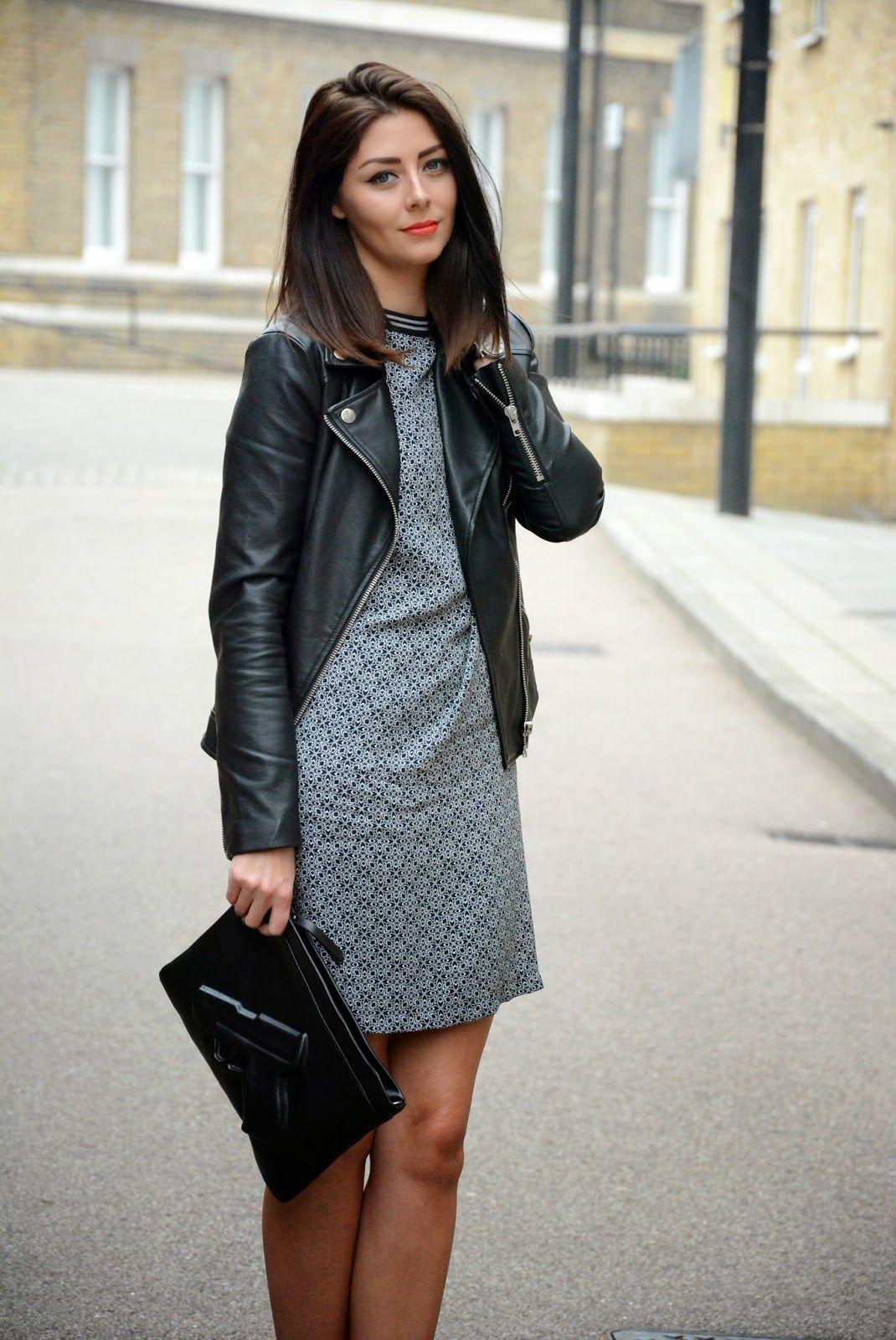 шифт платье с кожаной курткой