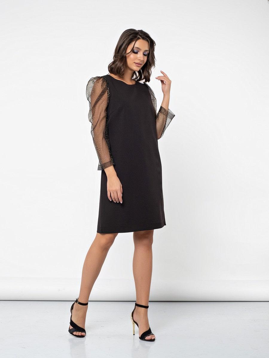платье шифт с рукавами из сетки