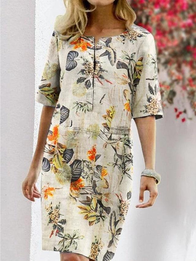 платье шифт в цветок