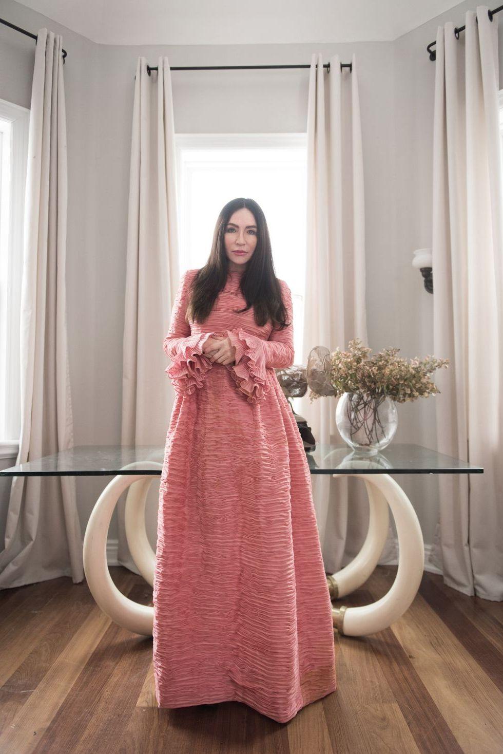 розовое  винтажное платье