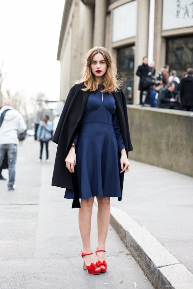 темно синее платье с пиджаком
