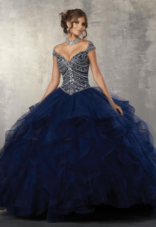 пышное темно синее свадебное платье