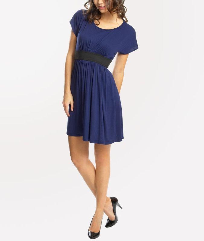 темно синее платье с лодочками