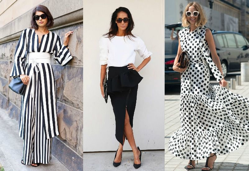Стильный черно-белый гардероб для девушки и женщины: модные луки